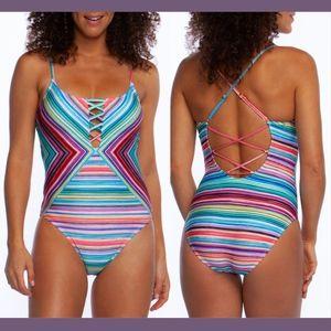 NWT La Blanca Tahitian Stripe Lace-Up One-Piece 16